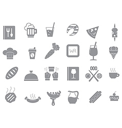 Diner gray icons set vector