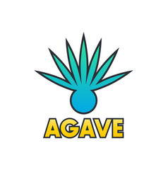 Agave plant element for logo design on white vector