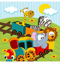 Animals by train vector