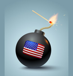 Bomb with american flag vector