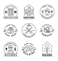 Construction emblem set vector
