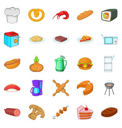 Cooking icons set cartoon style vector