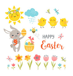 cute easter design elements vector image