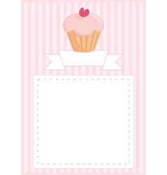 Delicious cupcake card with sweet background vector image vector image