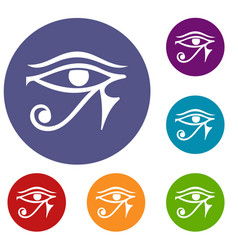 Eye of horus egypt deity icons set vector