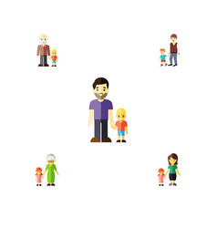 flat icon family set of son grandchild daugther vector image vector image