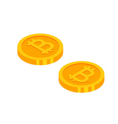 gold bitcoins cryptocurrency coins money icon in vector image vector image