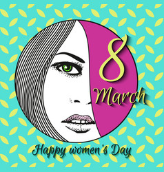 Greeting card with 8 march womens day 16 vector