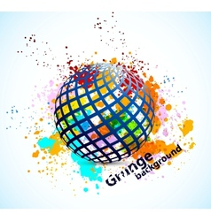 Grunge background with sphere vector image vector image