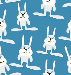 Hares and rabbits seamless pattern background of vector