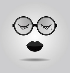 Hipster lady lips and big trendy circle sunglasses vector