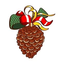 Merry christmas fir cone vector