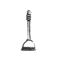 Monochrome blurred silhouette of toilet plunger vector