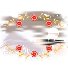Mountains lake and ornament on a moonlit night vector