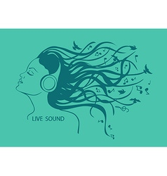 Portrait of girl listening to music vector image