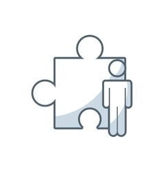 puzzle piece solution with business icon vector image vector image