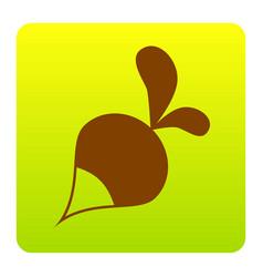 Radish simple sign brown icon at green vector