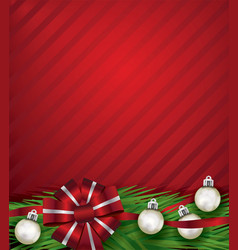 Red christmas holiday bow and silver ornaments vector