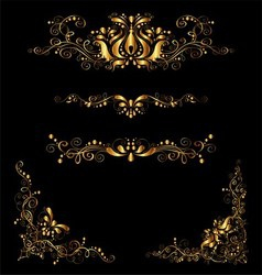 Retro gold floral elements and embellishments set vector