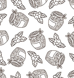 Seamless sketch berry pattern vector