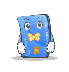Silent credit card character cartoon vector
