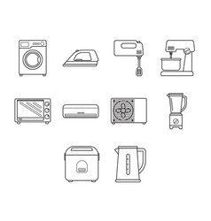 Thin line home appliance icon set vector