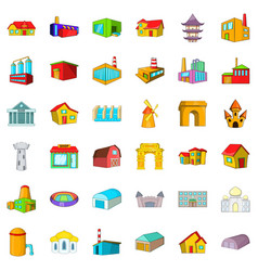 Town building icons set cartoon style vector