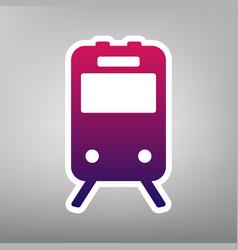 Train sign purple gradient icon on white vector