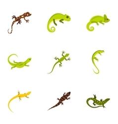 Types of iguana icons set flat style vector