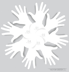 White hands abstract background for design vector