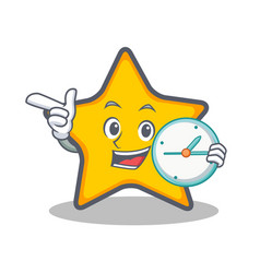 With clock star character cartoon style vector