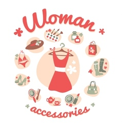 Woman accessories icons set vector