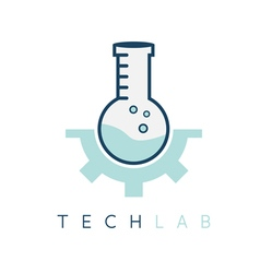 Technology lab tube with gear design template vector