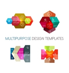 Paper infographic banners and stickers vector