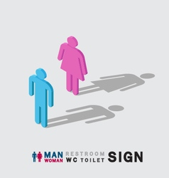 Man and woman toilet wc restroom sign isometric vector