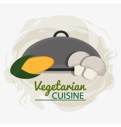 Mushrooms vegetarian cuisine tray service vector