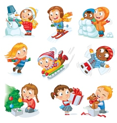 Winter holidays set vector
