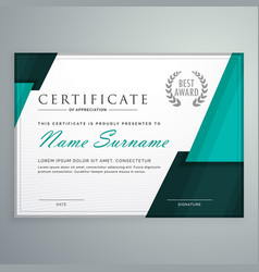 Modern certificate design with abstract geometric vector