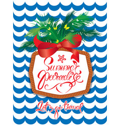 Seasonal holiday card with rope frame and palm vector