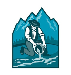 Gold prospector miner pan retro vector