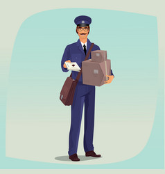 Postman standing in front face with parcels vector