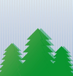 Three green spruce on a light background vector