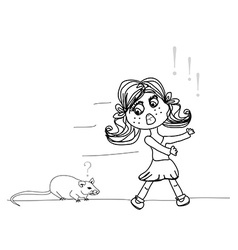 Girl scared of a mouse vector