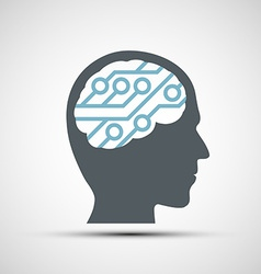 Icon of human head with a computer chip vector