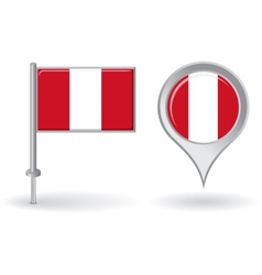 Peruvian pin icon and map pointer flag vector