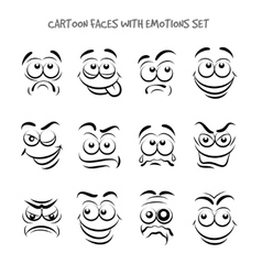 Cartoon faces with emotions set vector image