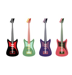 Set of colored guitars multi-colored rock electric vector