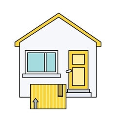 Delivery box to home house design flat vector