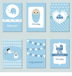 Collection of cute baby boy card vector