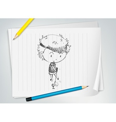 Golfer sketched on paper vector